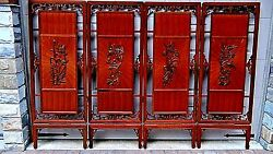 Antique19c Chinese Rosewood Pierced Carved 4 Panel Room Screen W/birds And Flowers