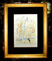Salvador Dali The Monkey And The Leopard Original Engraving Coa S/n In Pencil