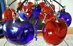 New Unique Hand Blown Glass Red And Blue Heart Chandelier Made In Mexico