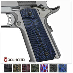 1911 Full Size G10 Grips Big Scoop Mag Release with Free Screws Coolhand H1 J6B $22.99