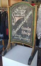 Antique Sidewalk Advertising Sign Sandwiches Candy Providence Square 2 Sided