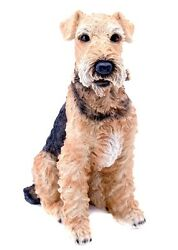 Large Sitting AIREDALE TERRIER DOG Realistic Life Like Statue Home Garden Decor