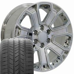 Oew Fits 20x8.5 Chrome Silverado Wheels And Goodyear Tires 20 Rims Chevy