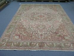 Semi Antique Turkish Sivas Oushak Hereke Rug Wool Hand Knotted 6and039-6 X 9and039-6 Pink