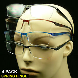 Reading glasses men women rimless spring hinge 4 pair lens power lot pack new $9.95