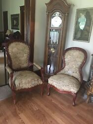 Antique Victorian Living Room Furniture Set Upholstered Mahogany, Couch,chairs