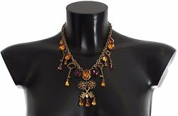 New 1600 Dolce And Gabbana Necklace Gold Brass Floral Crystal Sacred Key Charms