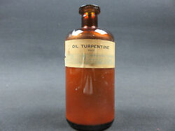 Vintage Chemical Bottle Oil Turpentine White 1 Pound The Will Corporation