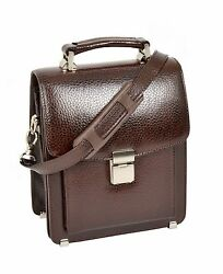 Mens Real Leather Small Briefcase Style Cross Body Organiser Shoulder Bag Brown