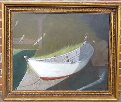 American Oil Painting Gerard F. Smith Rowboat In Barn 1938-2011