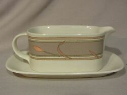 Mikasa Intaglio Cac02 Meadow Sun Gravy Boat With Underplate - Excellent