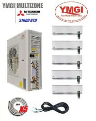 YMGI 51000 BTU Five Zone DUCTLESS SPLIT AIR CONDITIONER WITH HEAT PUMP Wall Moun