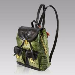 Marino Orlandi Italian Designer Green Alligator Embossed Leather Backpack Sling