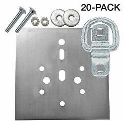 Surface Mount D-ring 6000 Lb.cap Tiedown W/ Backing Plate Hardware Kits 20-pack