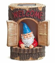 Gnome Welcome Garden House Outdoor Decor Stump With Solar Lights By Bo Toys