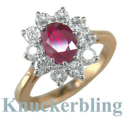 2.50ct Oval Ruby And F Vs Diamond Cluster Engagement Ring In 18ct Gold