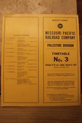 Missouri Pacific Palestine Division Employee Timetable 3 February 81959-n Mint