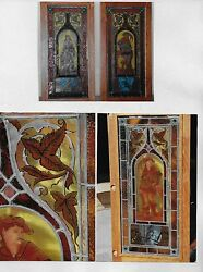 REDUCED !!! PAIR_VINTAGE STAINED GLASS wMEDIEVAL FIGURES value $8800 MUST SELL