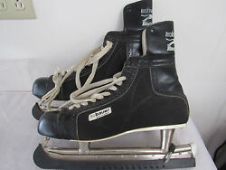 Vintage Bauer 1960's Black Panther Ice Hockey Skates Made In Canada Size 12 13