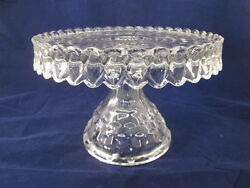 1930s Elegant American Clear Fostoria Glass Co Art Deco Cube Footed Cake Plate