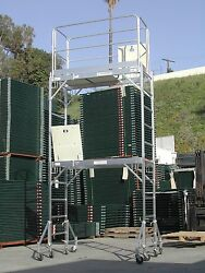 Cbm Aluminum Scaffold Rolling Tower 12' Deck High With Guard Rail And Outrigger