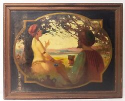 Antique Persian Oil Painting On Canvas Mounted On Board