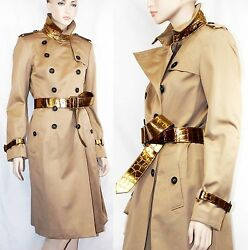 $8000 Burberry Prorsum 10 12 44 LIMITED Alligator Belt Cotton Trench Coat Women