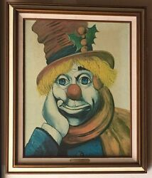 Limited Edition Litho On Canvas Of Holly Clown By Red Skelton Signed