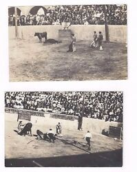 Lot of 2 antique bull fight real photo post cards rppc's Gory Results of Fight