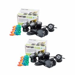 2-parck 4-led Super Bright Outdoor Underwater Pond Fountain Spot Light Kits