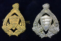 Pair Ww2 Canadian Cap Badges Essex Scottish Cast Brass And One Plated