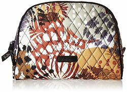 Vera Bradley Womens Large Cosmetic Makeup Case Zipper Close Bag Painted Feathers