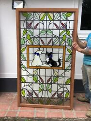 V Large Stained Glass Window Panel Cats Feline Pet Lead Old Period Animal Theme