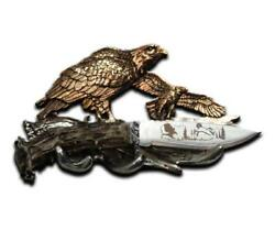 NEW! Hunter's 8'' EAGLE HUNTING KNIFE WITH WALL DISPLAY COLLECTORS PERFECT GIFT!