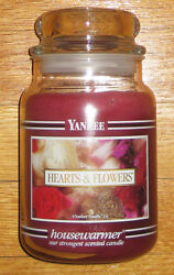 Yankee Candle - 22 Oz - Hearts And Flowers - Black Band - Very Hard To Find