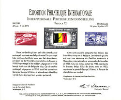 1972 U. S. P. S. Souvenir Card 3 United States Stamps Belgica 72 Brussels Ps5