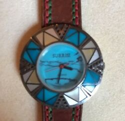 Stunning Surrisi Turquoise 925 Silver 2000leather Bandwomenand039s Watch