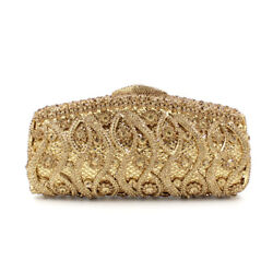 New Handmade Crystal Wedding Bridal Party Cocktail Evening Bag Clutch Gold $92.99