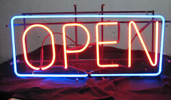 Vintage Everbrite Neon Light Open Sign 36 By 16 Gas Tube With Transformer 1989