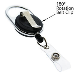 100 Pack - Retractable Id Badge Reels With Carabiner And Swivel Back Belt Clip