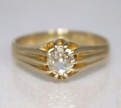 Antique 18ct Gold Diamond Vs 0.65ct Old Cut Gypsy Style Solitaire Ring 1918 Uk U