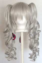 23'' Curly Pig Tails + Base Silver Gray Cosplay Wig NEW