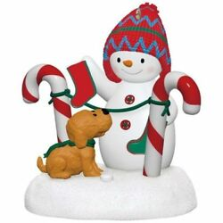Stockings Hung With Care 2017 Hallmark Magic Christmas Ornament Snowman Puppy
