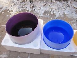 8 And 10 Colored Frosted Crystal Singing Bowl 2pcs With Different Note