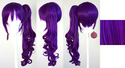 23'' Curly Pony Tail Clip Only Indigo Purple Cosplay Wig NEW