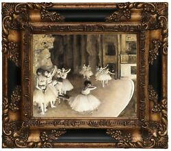Degas Ballet Rehearsal On Stage 1874 Wood Framed Canvas Print Repro 8x10