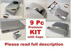 Fits Corvette C6 2005-2007 9 Pc Engine Cover Kit W/ Chrome Caps Stainless Steel