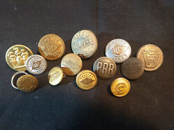 Old Vtg Collectible Railroad And Miscellaneous Button Lot Reading Lines Train