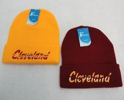 72PC LOT CLEVELAND WINE GOLD Wavy Embroidered Winter Beanie Hats