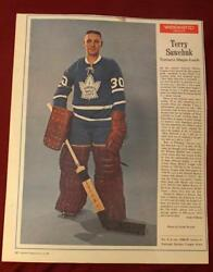 Vintage 1960and039s Terry Sawchuk Maple Leafs Weekend Magazine Full Goalie Photo